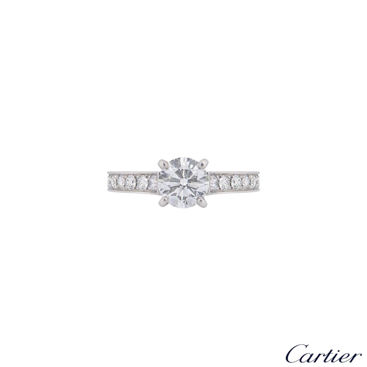 Cartier Platinum Diamond 1895 Solitaire Ring 0.90ct E/VS2